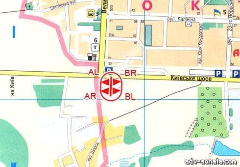 Наружная реклама, A-14254, Полтава, Киевское шоссе, борд - чебурашка, схема.
