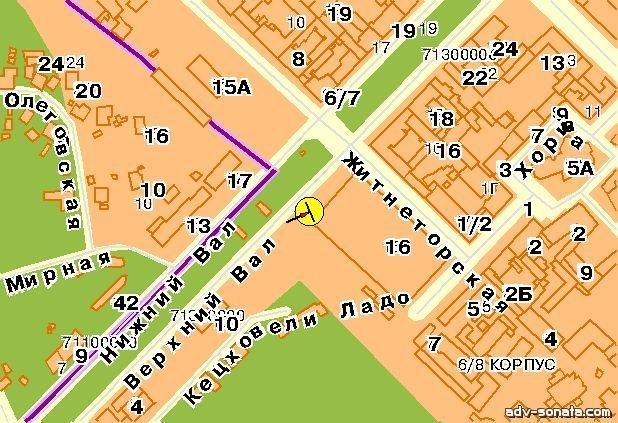 Карта плоскости 33953.  Киев, Верхний Вал ул., у Житнего рынка, к Контрактовой пл.